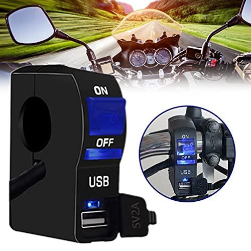 Gogias Interruptor de control para manillar de motocicleta con luz indicadora y interruptor de carga USB para manillar