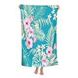 Wozukia Tropical Hibiscus Flowers Bath Towels and Exotic Palm Leaves Trendy Summer Floral Background Pink Green Men Women Absorbent Quick Dry Oversized Bath Towel for Pool Bathroom Travel Sports