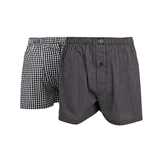 Bugatti Herren Boxershort, Unterhose, Boxer-Shorts - Baumwolle, Single Jersey, schwarz, kariert, mit Eingriff, 2er Pack 7