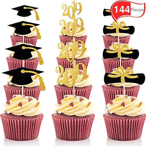 Chengu Graduation Cupcake Toppers, 2019 Cap Graduation Picks for Mini Cake, Graduate Food and Appetizer Decoration (Gold and Black Style, 144 Pieces)