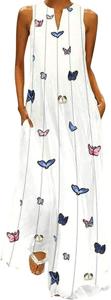 MISYAA Women's Sleeveless V-Neck Floor-Length Casual Dress with Pockets