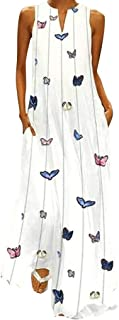 Maxi Dress for Women Muslim Kaftan Fankle Sale Bohemian Retro Butterfly Print V Neck Sleeveless Casual Long Dress Holiday Party Sundress