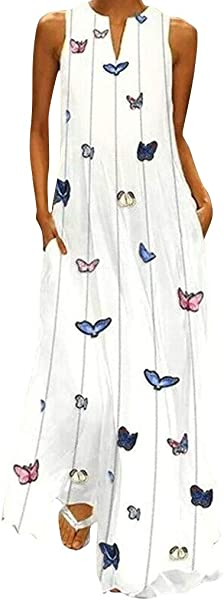Usstore Women Maxi Dress Stripe Cartoon Printed Robe Summer Casual Sleeveless V Neck Vintage Pockets Daily Tall Sundress