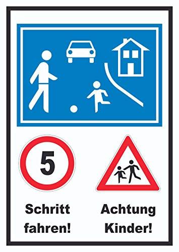 HB-Druck Spielstraße Schrittfahren Achtung Kinder Schild A2 (420x594mm)