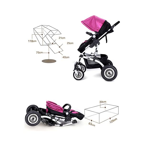 JXCC Travel Systems Baby Trolley Child Baby Stroller Can Sit Can Lie Down Two-way Fold Four Rounds High Landscape Baby Children Strollers Travel Stroller -Safe And Stylish multicolor-2 JXCC Backrest adjustment allows baby to sit, lie down, sleep and feel truly comfortable Easy to handle with lockable and swivelling front wheels The large storage basket underneath is ideal for holding purses, groceries, and diaper bags 4