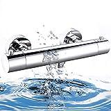 Elbe®Grifo termostatico ducha con protección contra las quemaduras superficiales, grifería de ducha de latón, cromada, con botón de seguridad de 38°C, para un funcionamiento más seguro y cómodo