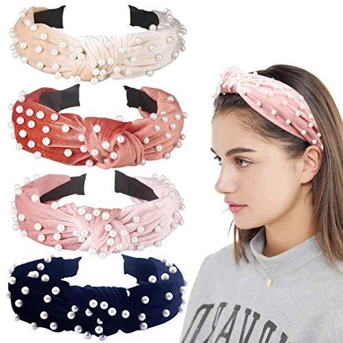 4er Pack Velvet Wide Stirnbänder Knoten Turban Haarband Pearl Hair Hoops Mode Haarschmuck für Frauen und Mädchen