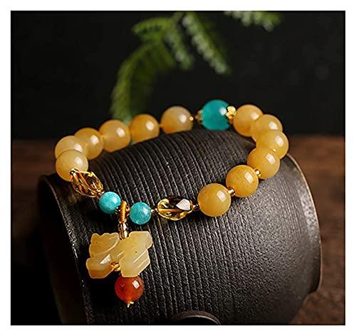 Pulsera de cuentas Feng shui riqueza pulsera dorada 7a nivel pixiu piyao ornamento amarillo puro raro chakra piedras preciosas perlas brazaletes fertilidad prosperidad dinero suerte para mujeres niña