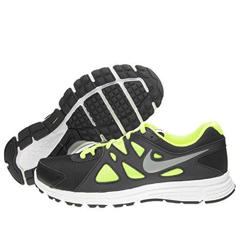 Nike Jungen Revolution 2 GS Laufschuhe, Schwarz (Black/Metallic Silver-White-Volt 016), 37.5 EU