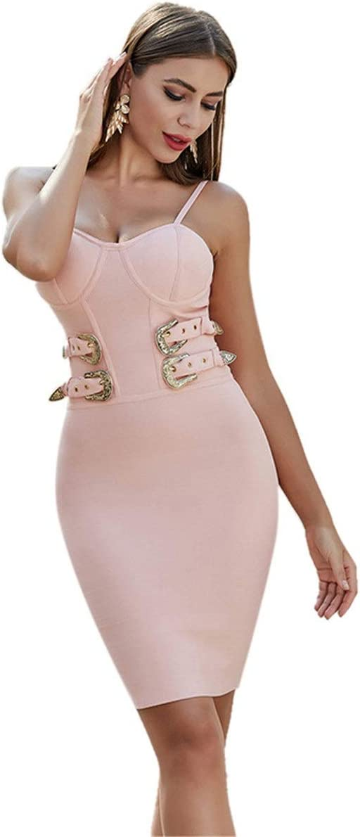 YonCog Ladies Evening Dress Sling Tight-Fitting Bag Hip Short Lace-up Dress Bandage Skirt Women's Club & Night Out Dresses (Color : Pink, Size : Small)