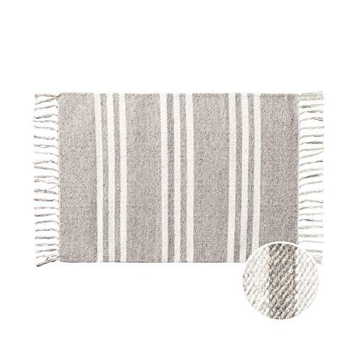 Butlers Good Loom Teppich Streifen mit Fransen L 90 x B 60cm