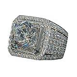 Aunimeifly Domineering Men's Women's Diamond Rings Full Diamond Micro Inlay Rings Luxury Jewelry Accessories Silver