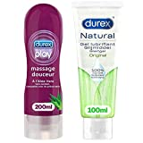 Durex Gel lubricante y masaje de aloe vera 200 ml – Gel natural íntimo a base de agua 100 ml – Lote de 2