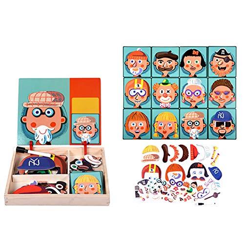Queta Puzzles de Madera, Kit de Rompecabezas Ilustrativas y Cognitivas para Niños, Juguetes de Educación Temprana con Tablero de Dibujo de Doble Cara para Niños de 3 a 5 Años (Tipo-2)