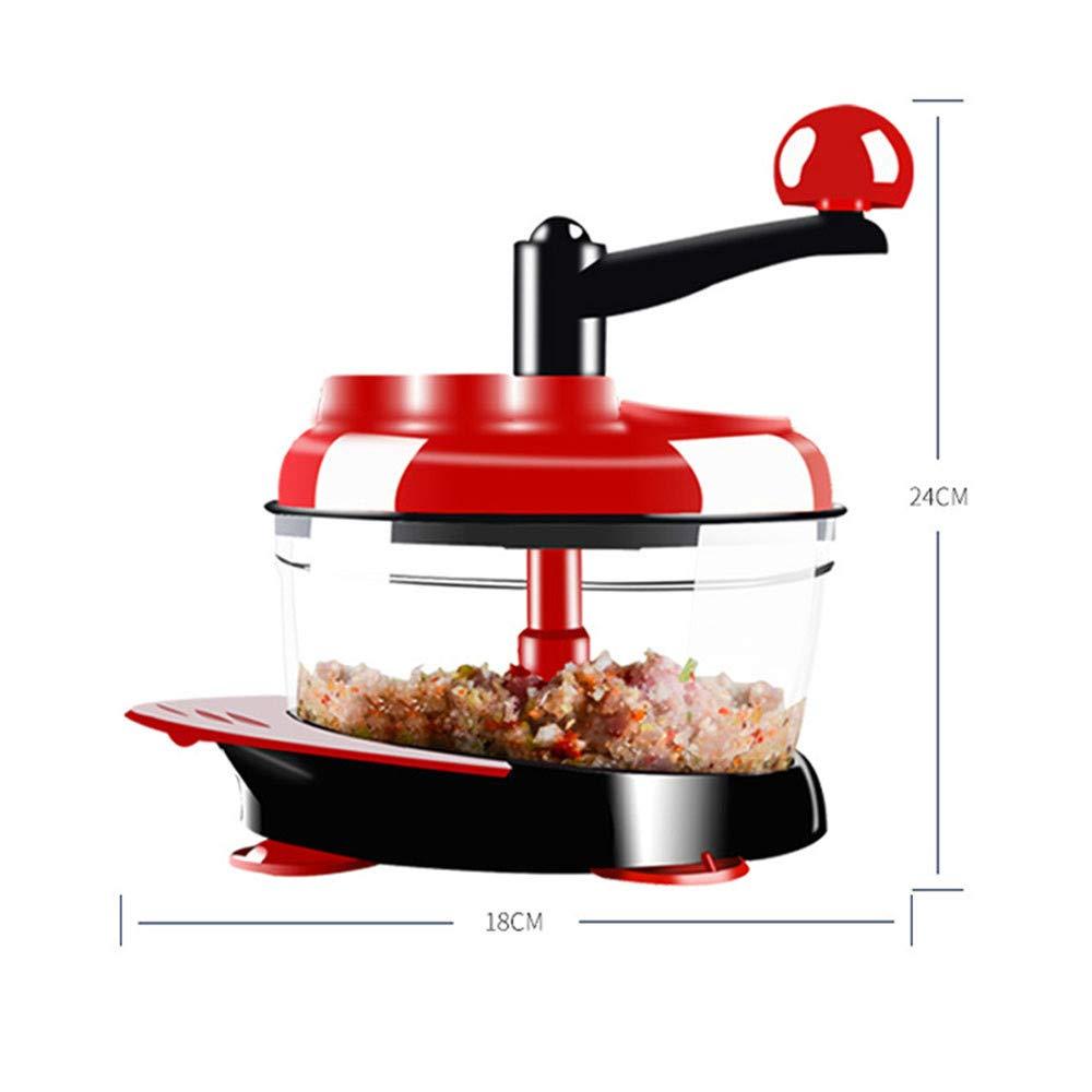 QCDGNL Herramienta Multifuncional de helicóptero Cocina hogar picadora de Carne Manual, Rojo: Amazon.es