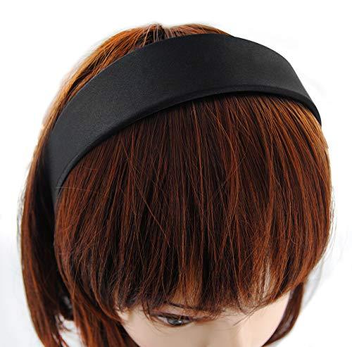 axy Breiter Haarreif mit Satin bezogen Haarband Vintage Klassik-Look Hairband Stirnband HRK1 (Schwarz)