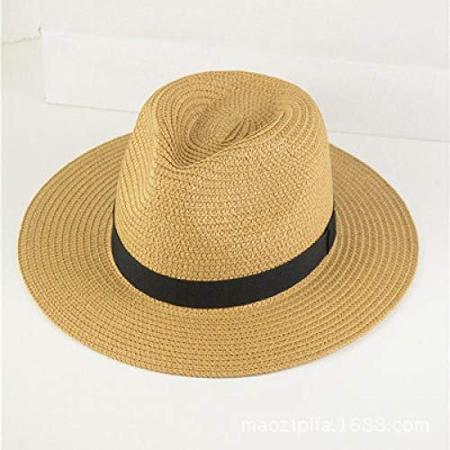 IFMASNN Outdoor, Mode, Trend, hohe Qualität, Panama Sommer FedoraStroh Sonnenhut Herren Safari Strandhut - Faltbareleichte Kaffee