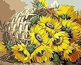 MYQF Pintura por número de Kit,Canasta de Flores Girasol DIY Pintura por Lienzos para Pintar por Número De Kits Al Óleo Pintar con Pinceles y Pigmento acrílico,Regalo de cumpleaños,50x40 cm