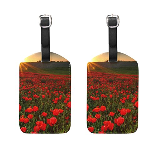 COOSUN Sunset Over Field with Red Poppies Luggage Tags Travel Labels Tag Name Card Holder for Baggage Suitcase Bag Backpacks, 2 PCS