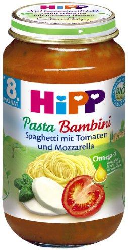 Hipp pasta bambini–Spaghetti con pomodori e mozzarella, confezione da 6(6x 220G)–Bio