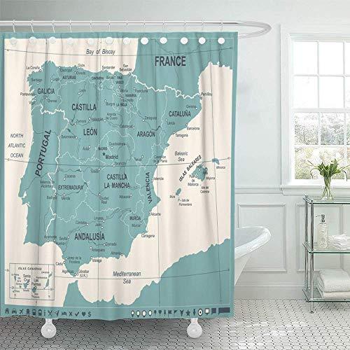 N\A Cortina de baño Tejido de poliéster Impermeable Azul Aragón España Mapa Vintage Detallado Verde Barcelona Ciudades Capitales Cataluña Set Ganchos Baño Decorativo