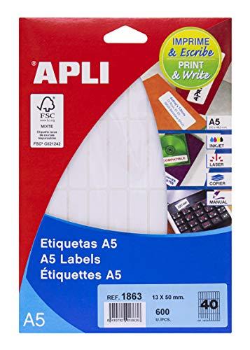 APLI 1863 - Etiquetas A5 blancas 13,0 x 50,0 mm 15 hojas