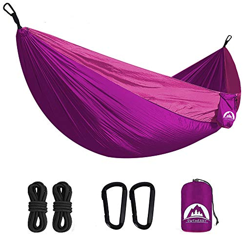 Double Camping Hammock Lightweight Parachute Nylon | Portable Hammocks with Tree Straps | Hammock 2 Person Heavy Duty | Hammock Backpacking for Camping, Backyard, Hiking, Beach (Purple & Pink)