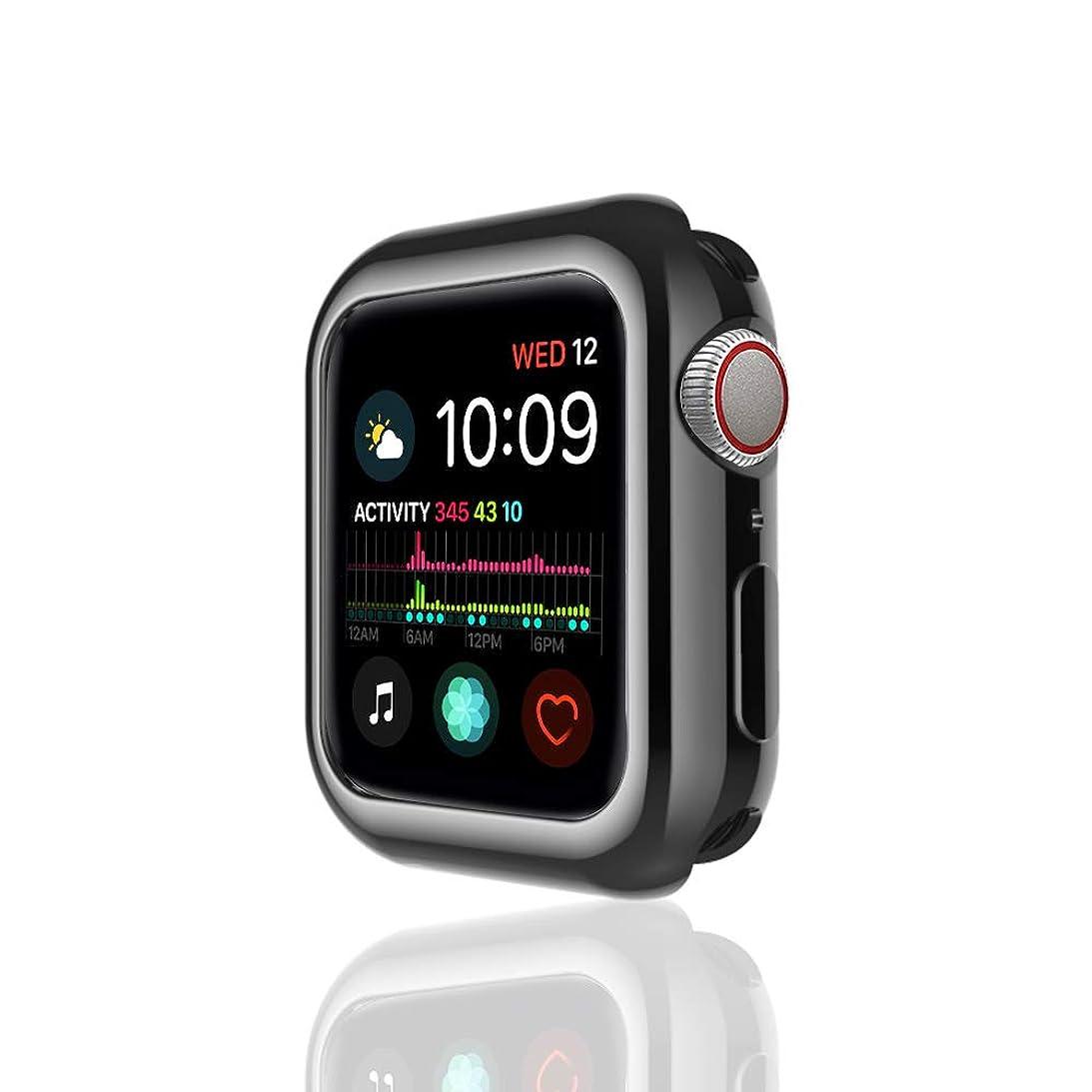 野心注ぎます飛行場apple watch 44mm ケース TPU 超薄型 着装まま充電可能 耐衝撃 アップルウォッチ4 カバー Apple Watch Series4専用 精密操作 脱着簡単 高級感 apple watch ケース 40/44mm ブラック シルバー レッド ゴールド (44, 黑)