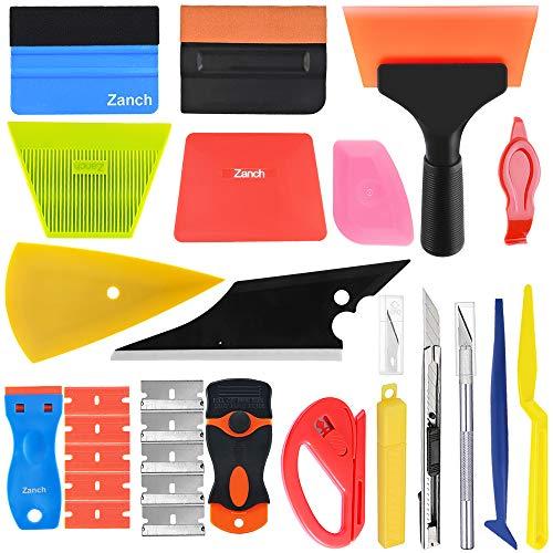 Zanch Window Tint Tools Vinyl Wrap Tool Kit Corner Shower Shank Card Felt Squeegee Razor Scraper Knife Cutter Window Tinting Film for Home Car Glass Protective Film Installation Application Solution