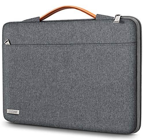 TECOOL Funda Ordenador Portátil para 14 Pulgadas HP/Lenovo/DELL/Acer/ASUS Notebook Chromebook, 15 Surface Laptop 3, 2016-2019 MacBook Pro 15 Bolsa Blanda con Manija Retráctil, Gris Oscuro