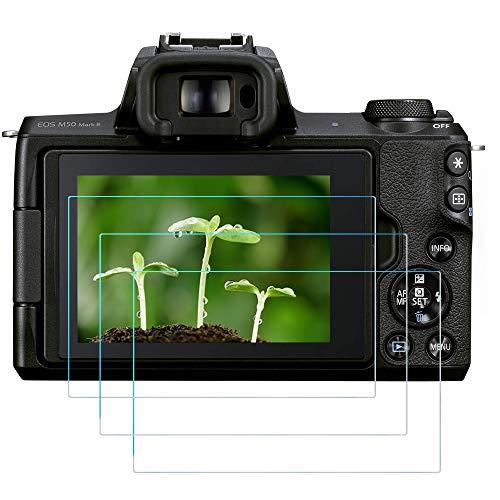 Protector de pantalla M50 Mark II para cámara Canon EOS M50 M50II M6 M6II M100 200D SL2 (3 unidades) FANZR 0,3 mm 9H Dureza cristal templado antiarañazos