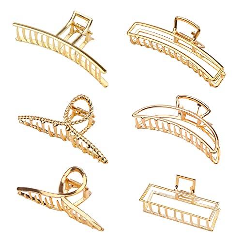 6 Stück Klaue Clips Haarklammern für Frauen Mädchen Metall Goldene rutschfeste große Haarklauenclip rutschfeste Haarspangen mit starkem Halt Halbmond Haarnadel für dickes dünnes Haar