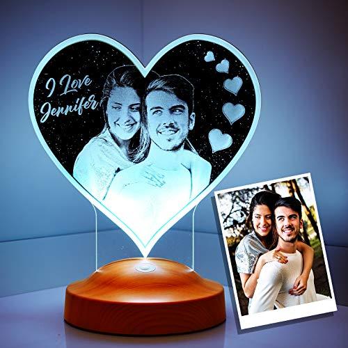 Sentidos Fotogeschenk Valentinstag Geschenke Personalisierbar mit eigenem Foto und Text in 3D Bilder Led Motiv Lampe gravieren (herzform)