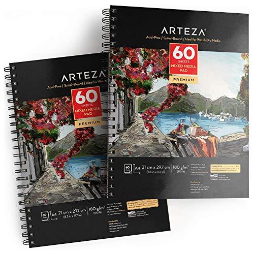 ARTEZA Zeichenblock A4 210 x 297mm | Mixed Media Sketchbooks | Spiralgebundener Skizzenblock mit 60 Blättern | 180gms Säurefreies Papier | Perfekt Aquarell, Acryl, Skizzieren und Journaling (2er Pack)