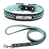 Yisatann Correa Perro Set Juego de Collar y Correa de Cuero para Perro Collar de Gato para Perro Acolchado Interior Grabado Gratis-S