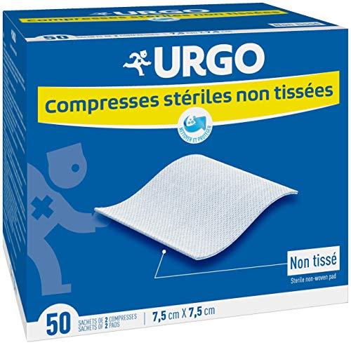 Urgo - Compresses stériles - Non tissées - Boîte de 50 sachets de 2 compresses - 7,5cm x 7,5cm