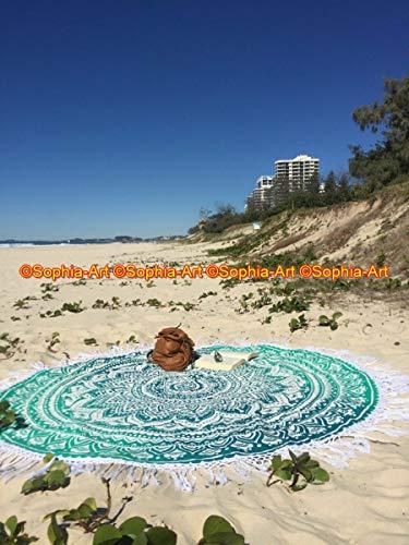Sophia-Art Sábana redonda para yoga, yoga, bohemio, mesa, playa, hippy, gitana, mandala, tapiz de tela de algodón indio, manta redonda para jardín, playa, picnic, 70 pulgadas (verde, 72 pulgadas)