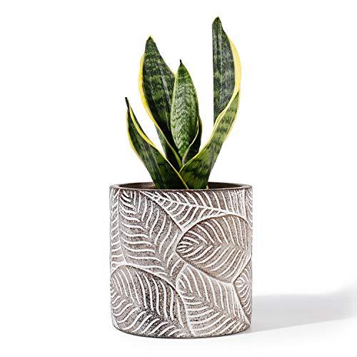 POTEY Cement Planter Flower Pot - 4.7 Inches Vintage Indoor Plants Containers Unglazed Medium Bonsai Concrete with Drain Hole - Bronze, Leaves Embossment