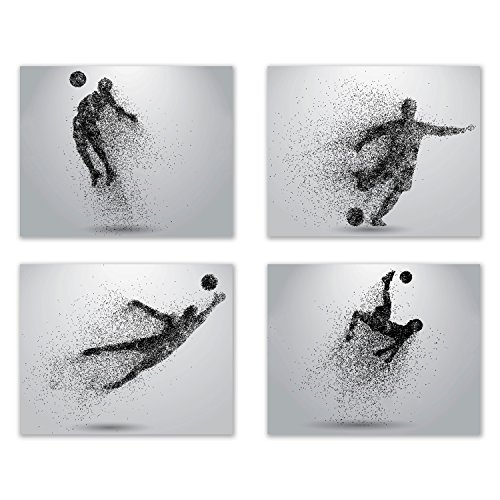 Summit Designs Soccer Wall Art Prints - Particle Silhouette  Set of 4 (8x10) Poster Photos - Man Cave- Bedroom Decor
