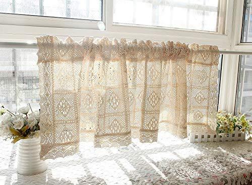 DQAW Cortinas correderas semitransparentes Cortinas de Ventana Cortas Cortinas de Puerta Cocina Sala de Estar Crochet Cortinas Vintage
