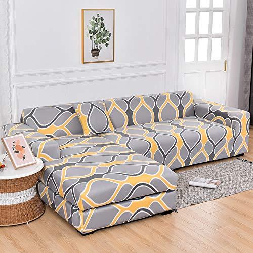WXQY Sala de Estar en Forma de L elástico Todo Incluido Funda de sofá antiincrustante Funda de sofá de Esquina retráctil Chaise Longue A16 4 plazas