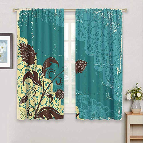Vintage Blackout Curtain Liner Flower Decorations Lacework Old Aged Distressed Antique Display for Living Room or Bedroom, W55 x L63 Inch, Teal Light Yellow Dark Brown