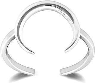 HarperCrown 月亮戒指 - 925 纯银 - 可调节