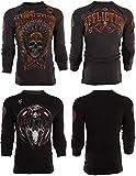 Affliction Mens Thermal Shirt Reversible American Customs Apache Biker Grey (Large)