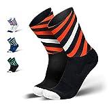 INCYLENCE Curls Sportsocken lang, leichte Running Socks mit Anti-Blasenschutz, atmungsaktive Laufsocken, Compression Socks, schwarz rot weiß, 39-42