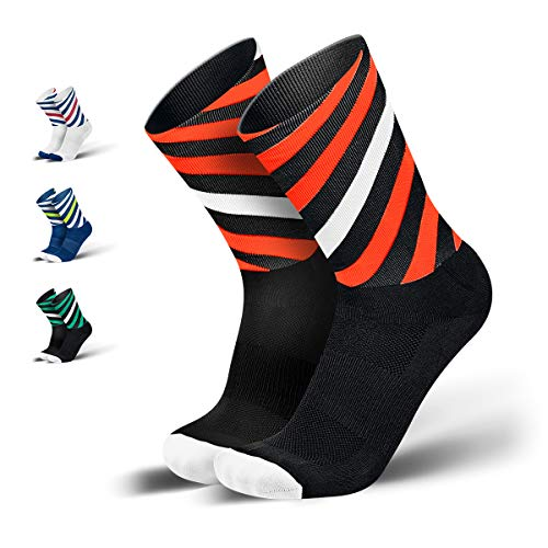 INCYLENCE Curls Sportsocken lang, leichte Running Socks mit Anti-Blasenschutz, atmungsaktive Laufsocken, Compression Socks, schwarz rot weiß, 35-38