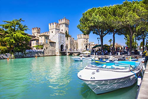 Sirmione Castle on lake Lago di Garda in Lombardia, Italy A-91433 (9x12 Art Print, Wall Decor Travel Poster)