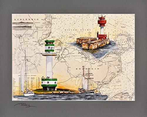 Kunstdruck Leuchttürme Friedrichsort & Kieler Ort mit original signiertem Passepartout Fotograu von Thomas Kubitz