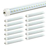 JESLED 8ft LED Light Bulbs - Single Pin Fa8 Base, T8 T10 T12 8 ft LED Tube, 50w, 5000k Daylight, 6000lm (100-130w Equivalent), 96' Dual Row LED Replacement for 8Foot Fluorescent Fixtures (Pack of 12)