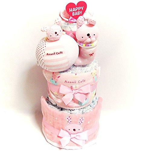 18011おむつケーキ3段 女の子 日本製綿素材ベビーギフト anano cafe(アナノカフェ)オムツケーキ